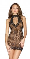Dreamgirl O/S Stretch Lace Collared Chemise With Zip Back 11027