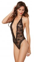 Dreamgirl Black Lace Teddy with Heart Cut-Out Detail UK Size 6-16
