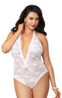 Dreamgirl Plus Size White Lace Teddy with Heart Cut-Out Detail UK Size 18-24