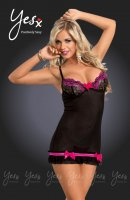 YesX YX673 Sexy Pink & Black Lace Chemise Dress & G-String