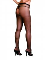 Dreamgirl Black Plus Size Lucerne Open Crotch pantyhose 0082X