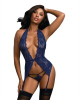 Dreamgirl Women's Stretch Lace Garter Slip with Matching Strappy Lace Panty 11506