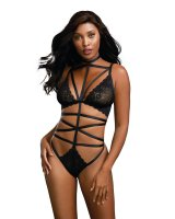 Dreamgirl Women's Strappy Teddy with Stretch Galloon Lace and Thong Back 11509