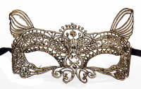Dreamgirl Gold Feline Masquerade Lace Eye Mask