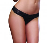 Dreamgirl Black Stretch Lace Thong 1376
