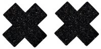 Black Glitter Cross Nipple cover - 1 pair