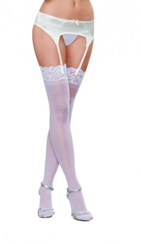 Dreamgirl One Size White Lace Top Sheer Stockings 0002
