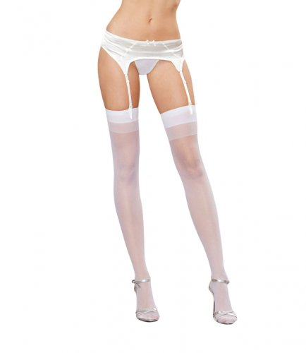 Dreamgirl White One Size Moulin Seamed Stockings UK Size 6-16