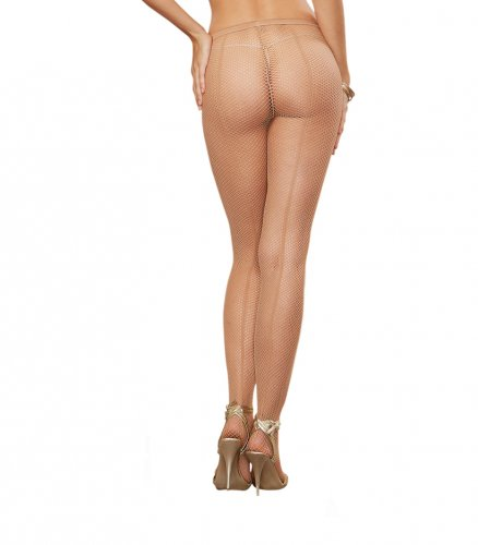 Dreamgirl One Size Nude Fishnet Pantyhose with Back Seam 0011